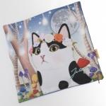 猫のクッションカバー 白黒フラワー