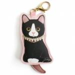 猫のコインケースチャーム 黒エリザベスカラー