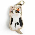 猫のコインケースチャーム 白黒フラワー
