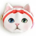 猫の小銭入れ ピンクリボン