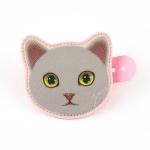 猫の顔型コードホルダー グレイ