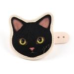 猫の顔型コードホルダー 黒