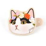 猫の顔型コードホルダー 白黒フラワー