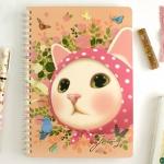 猫のリングノート A5 ピンクずきん