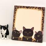 猫のブロックメモ 黒レオパード