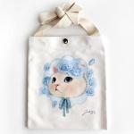 猫のショルダーバッグ キャンバス ブルーローズ