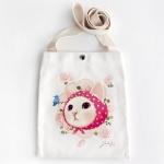 猫のショルダーバッグ キャンバス ピンクずきん