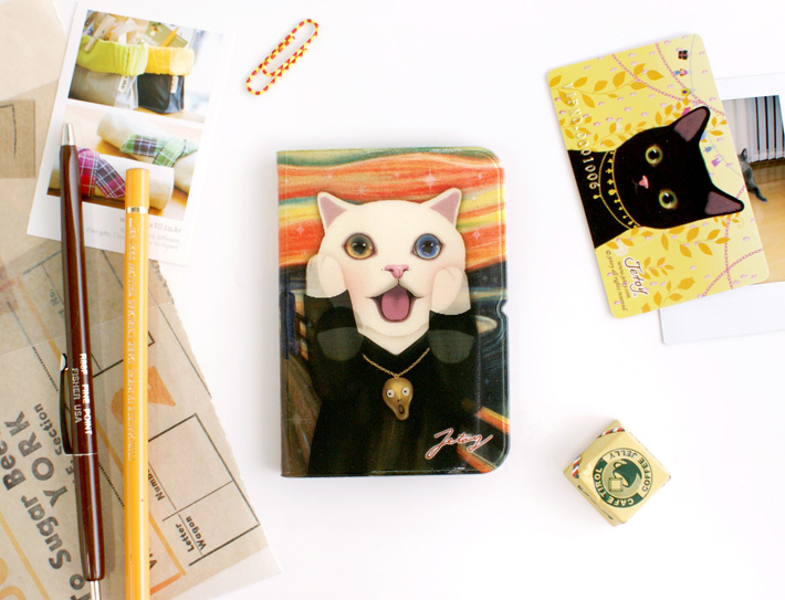 名画シリーズ、ムンクの「叫び」。<br>叫んでいる猫がかわいらしい♪<br>実用的なカードケースです♪