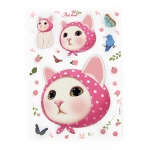 猫のデコレーションシール ピンクずきん