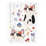 猫のデコレーションシール 白黒フラワー
