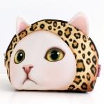 猫の顔型化粧ポーチ レオパードずきん