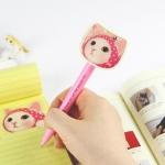 猫の顔ボールペン ピンクずきん