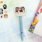 猫の顔ボールペン 白黒フラワー