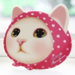 猫の顔型マウスパッド ピンクずきん