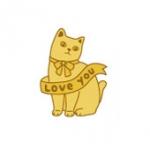 猫のメタルシール love you