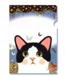 【ワケあり】猫のクリアフォルダー 白黒