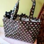 猫のコーティングトートバッグ ローズブラック