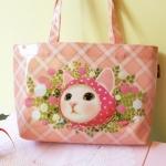 猫のコーティングトートバッグ ピンクずきん