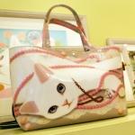 猫のコーティングトートバッグ パール