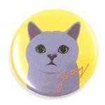 猫の缶バッジ S グレイ