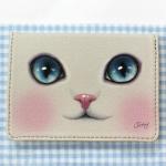 猫のパスケース プレミアム グレイ