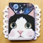 猫のカードケース プレミアム 白黒