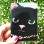 猫のカードケース 黒
