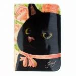 猫のパスポートケースH 黒