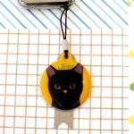猫のミラー付ストラップ 黒