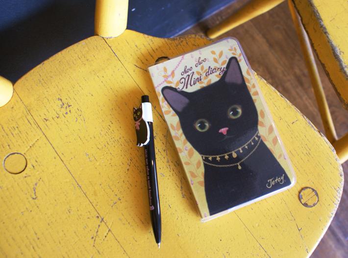 黒猫が大胆に描かれた<br>かわいいスケジュール帳☆