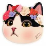 猫の顔型マウスパッド 白黒フラワー