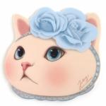 猫の顔型マウスパッド ブルーローズ