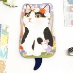 猫のしっぽ付きポーチ 白黒フラワー