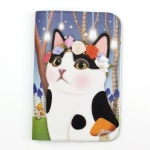 猫のパスポートケース4 白黒フラワー