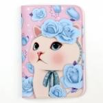 猫のパスポートケース4 ブルーローズ