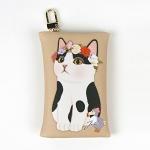 猫のカードケースチャーム 白黒フラワー