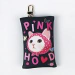猫のカードケースチャーム ピンクずきん