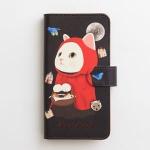 猫のスマホケース 手帳型 赤ずきん M