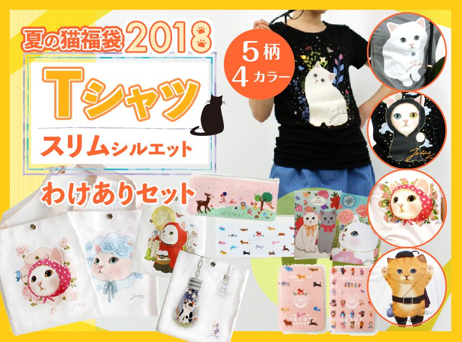 夏の猫福袋2018 Tシャツ スリムシルエットわけありセット