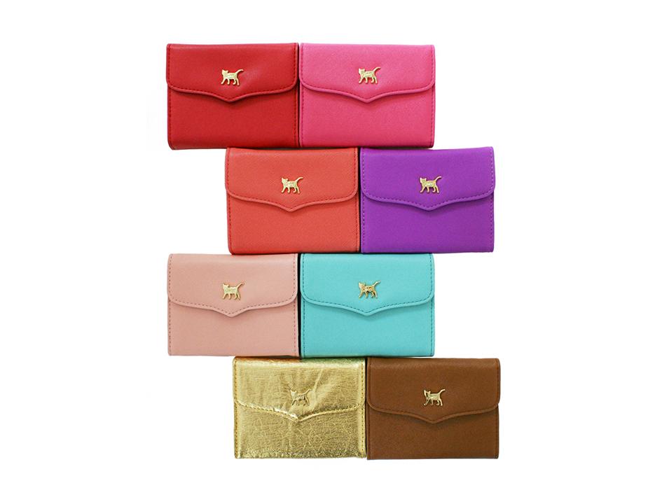 「猫のワンポイントカードケース」<br>レッド・ホットピンク<br>オレンジピンク・パープル・ピンク<br>ミント・ゴールド・ブラウンの8色のうち、<br>いずれか1つお入れします♪