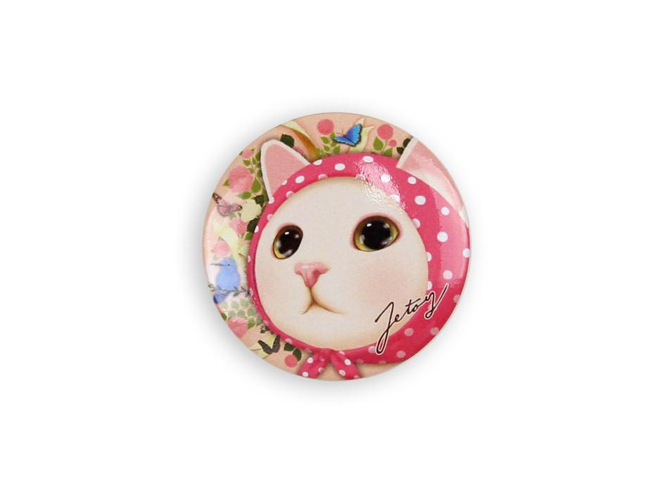猫の缶バッジM ピンクずきん