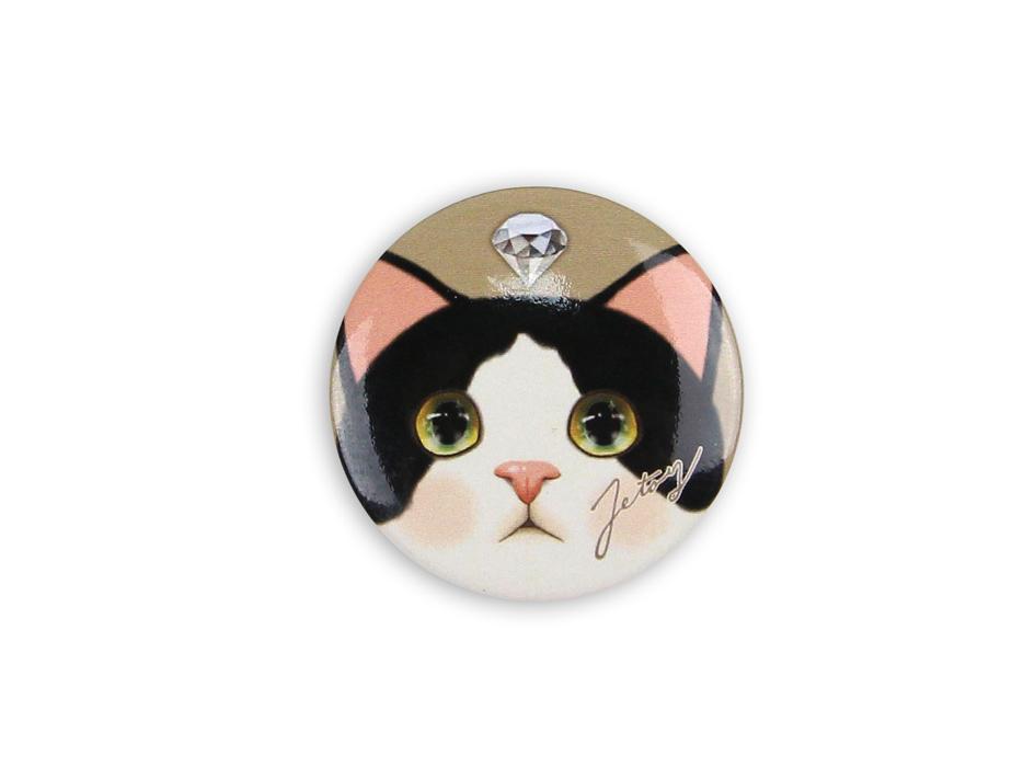 猫の缶バッジM 白黒
