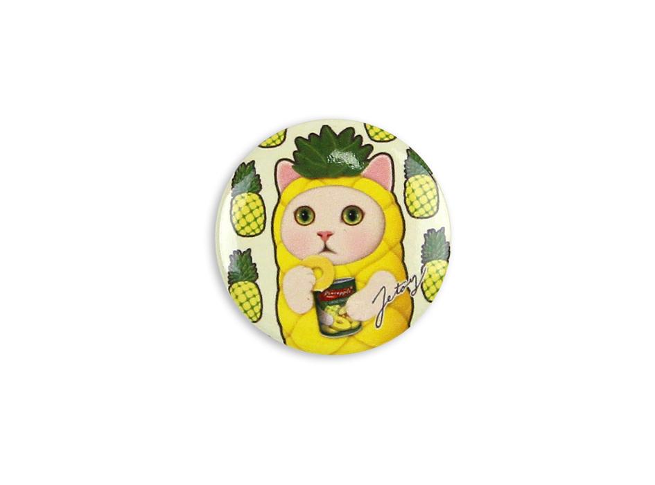 猫の缶バッジS パイナップル