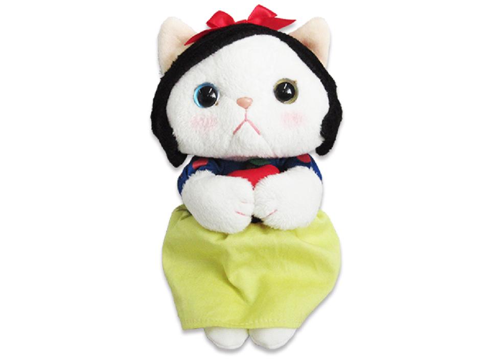 手にちょこんとりんごをもった姿がかわいい♪<br>白雪姫猫のキュートなぬいぐるみです!