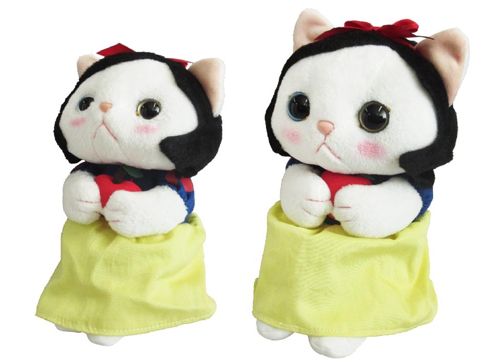 猫のぬいぐるみ 白雪姫は<br>MとSがあります☆<br>二人並べてもとってもかわいいんです♪