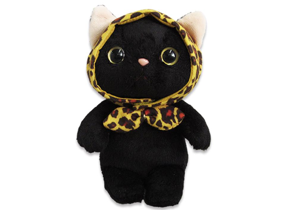 猫のぬいぐるみ レオパードずきん黒 M