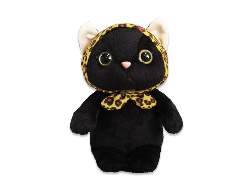 猫のぬいぐるみ レオパードずきん黒 S