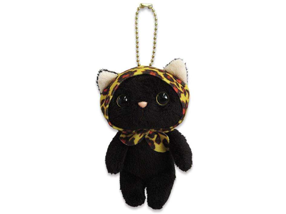 猫のぬいぐるみ レオパードずきん黒 マスコット