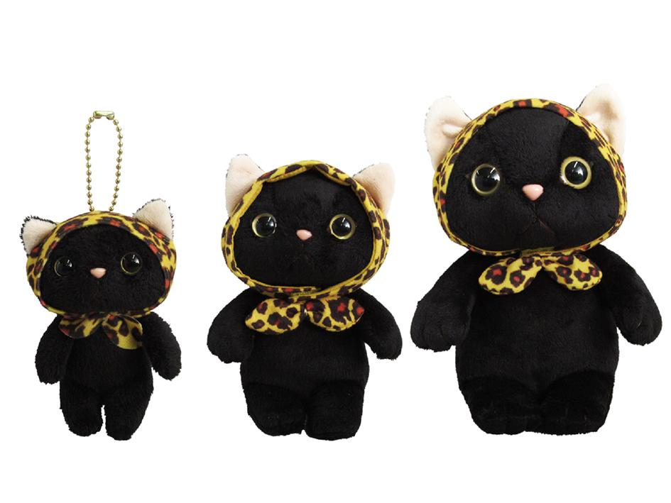 猫のぬいぐるみ レオパードずきん黒は<br>MとS、マスコットがあります♪