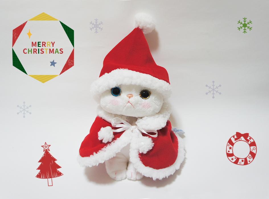 choo chooの<br>かわいいぬいぐるみを<br>サンタ猫にチェンジできる<br>とってもキュートな<br>ぬいぐるみ専用コスチューム♪<br><br>※コスチュームのみの販売です。<br> ぬいぐるみは別売りとなります。<br> あらかじめご了承ください。